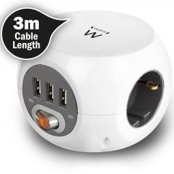 Regleta cubica ewent ew3953 3 tomas shucko 3 puertos usb y 3 metros de cable - Imagen 1