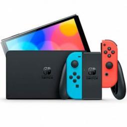 Consola nintendo switch oled mando color azul neon - rojo neon - Imagen 1