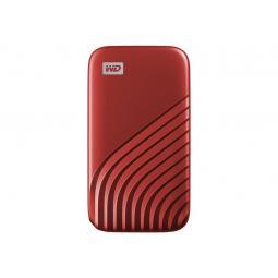 Disco duro externo hdd wd western digital 500gb my passport ssd usb 3.2 tipo c rojo - Imagen 1