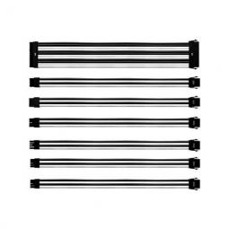Kit extension cables coolermaster blanco - negro mallados - 1x24p - 1x4 4p 1x8p - 2x6 2p - 2x8pin - 30cm - Imagen 1