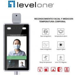 Camara ip level one fcs - 7703 con medicion de temperatura y reconocimeinto facial full hd - Imagen 1