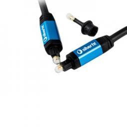 Cable silver ht high end 2 fibra optica + adaptador jack 3.5mm -  macho - macho -  2.5m -  negro - Imagen 1